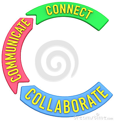 Connect collaborate communicate 3D arrows
