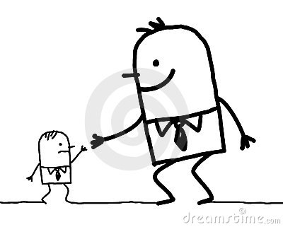 Big man giving help to small one