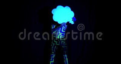 Ultraviolet Body Art On A Muscular Man Dancing With A Comic Cloud 4k Stock Footage Video Of Face Line 170577672