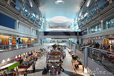 Big modern shopping center in Dubai Airport Editorial Image