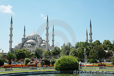 Big mosque in Istanbul in summ