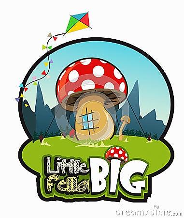 Big mushroom like a house on green grass