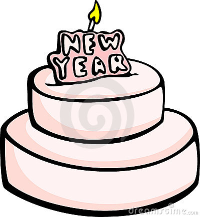 big new year cake vector illustration