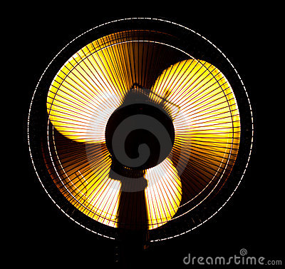 Free Big Office Fan In Yellow Light Royalty Free Stock Photography - 11843537