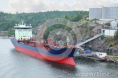 Big oil tanker with crane