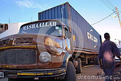 Big Old Benz truck. Kenya. Editorial Stock Photo