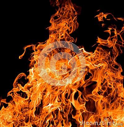 Big orange flame on black