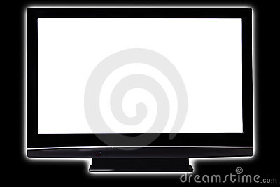 Big pasma HDTV white screen on black