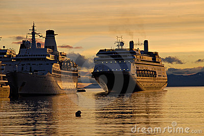 Big passenger ships in Ushuaia.