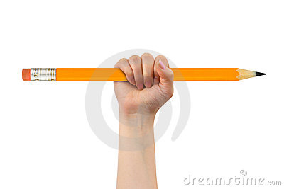 Big pencil in hand