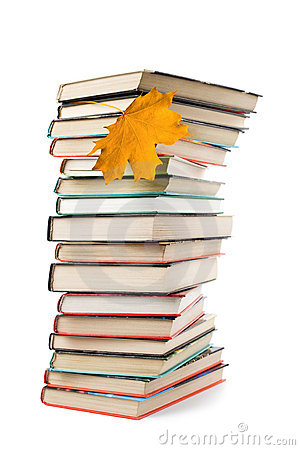 Big pile of books and autumn leaf isolated