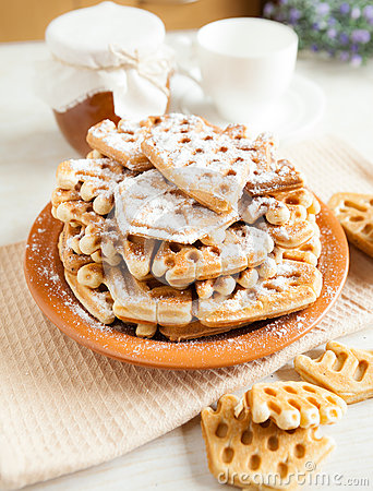 Big pile of of crispy wafers made at home