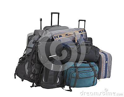 Big Pile of Luggage Isolated