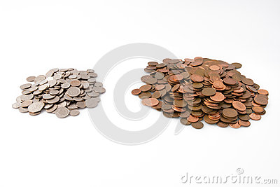 Big Pile of Pennies- Little Pile of Silver Coins