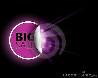 Big pink sale label with surprise