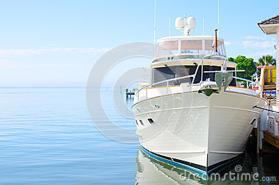 Big powerful dream yacht boat at dock