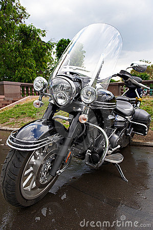 Big powerful luxury classic black motorcycle