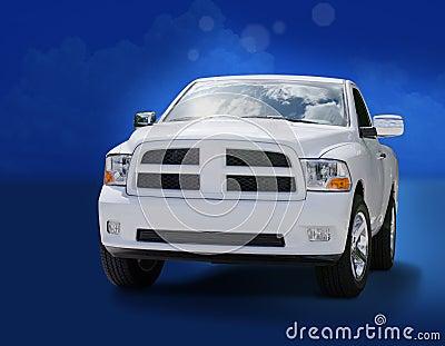 Big powerful white truck