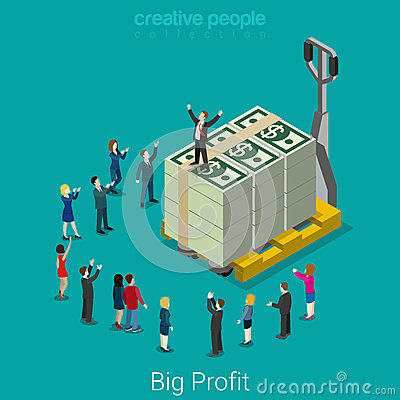 Free Big Profit Business Success Money Flat Vector Isometric Royalty Free Stock Images - 66253849