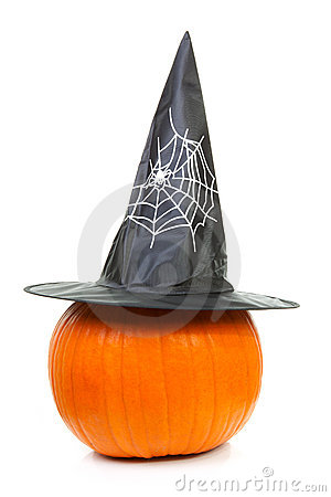 Big pumpkin with witch hat