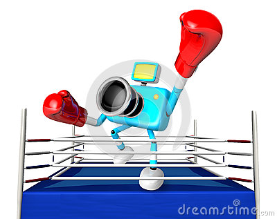 A big punch in the ring blowing 3d cyan camera Character.