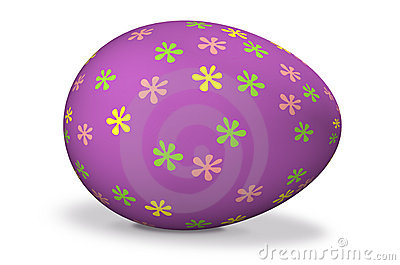 Big purple easter egg with flowers