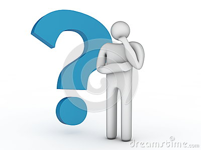 Big question mark and thinking person