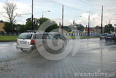 Big rain in Lublin, Poland - July 5, 2013 Editorial Stock Photo