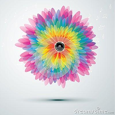 Free Big Rainbow Flower With Speaker Stock Photography - 22438202