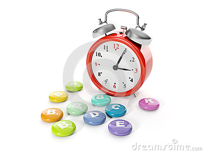 A big red alarm clock