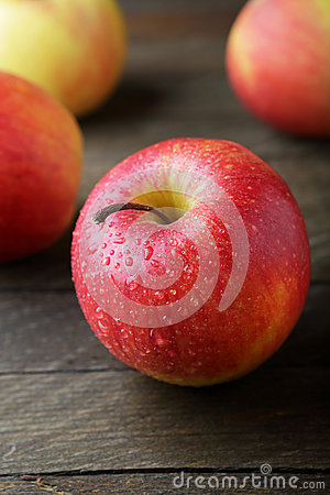 Free Big Red Apple On Old Wooden Background Stock Photography - 66985422