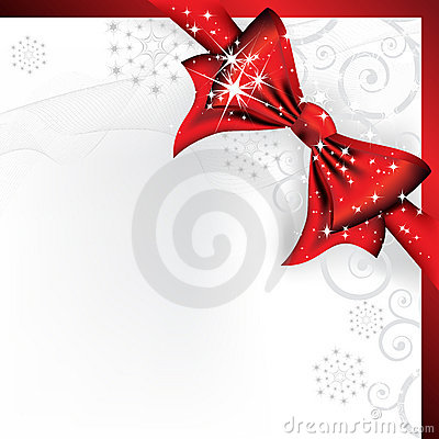 Big red bow on a magical Christmas letter