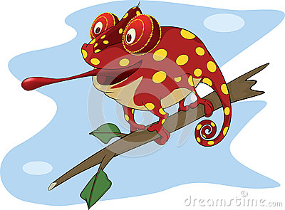 Big red Chameleon cartoon