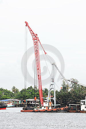 Big red crane
