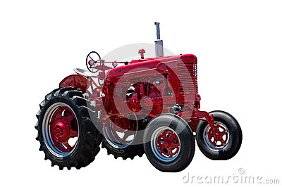 Big Red Farm Tractor Isolated On White