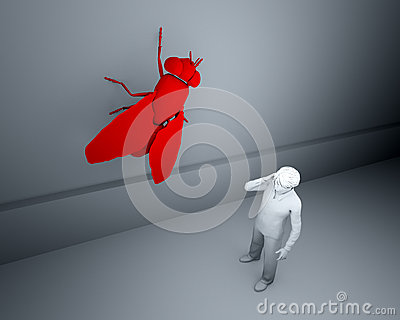 Big red fly on the wall