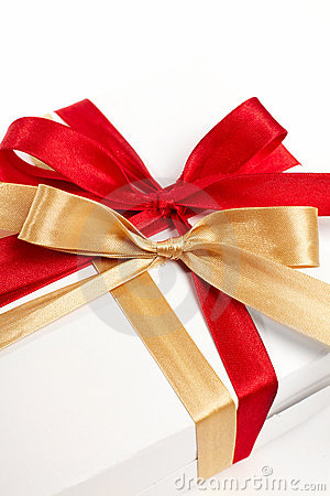Big red, gold bow on white