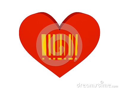 Big red heart with barcode symbol.