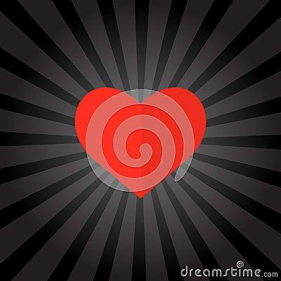 Big red heart on black background . Vector illustration. Vector Illustration