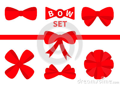 Big red ribbon Christmas bow icon set. Decoration element for giftbox present. White background. Isolated. Flat design. Vector Illustration
