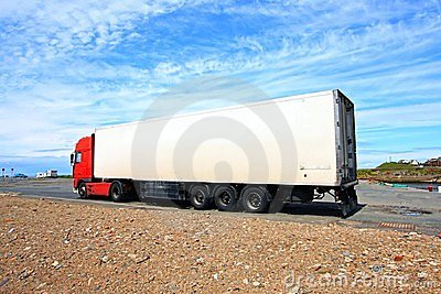 A big red and white lorry