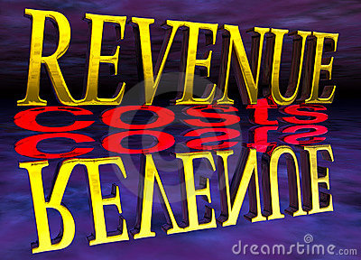 Big Revenue Small Costs Text with Reflection Night