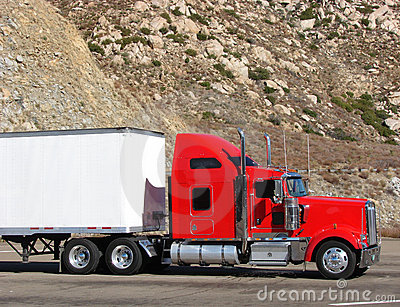 Big Rig Tractor Trailer Truck On A Mountain Road Stock Images - Image: 1669984