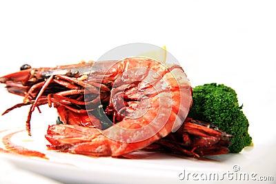 Big river prawn food
