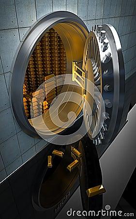 Big safe with Gold ingots 3D
