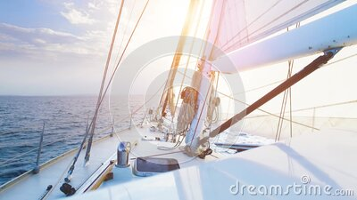 Big sailing yacht boat driving thru the ocean on a sunny day stock video footage