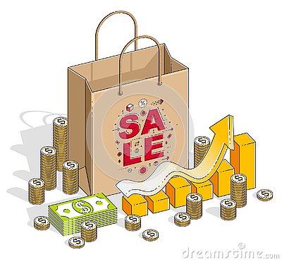 Free Big Sale Concept, Retail, Sellout, Shopping Bag With Cash Money Royalty Free Stock Images - 129644579