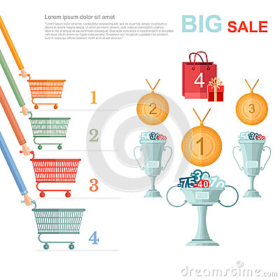 Free Big Sale Flat Illustration. Competition Racing On Perforated Shopping Carts For Disconts Stock Images - 61597044