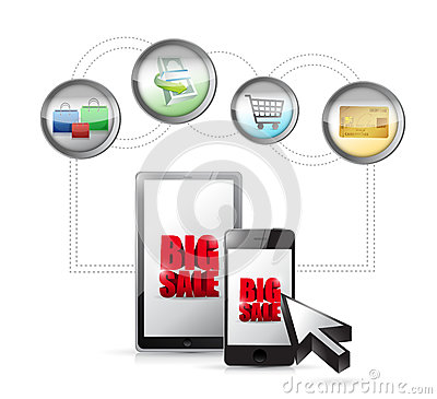Big sale online ecommerce technology concept. Cartoon Illustration