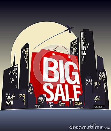 Big sale shopping bag in night city.
